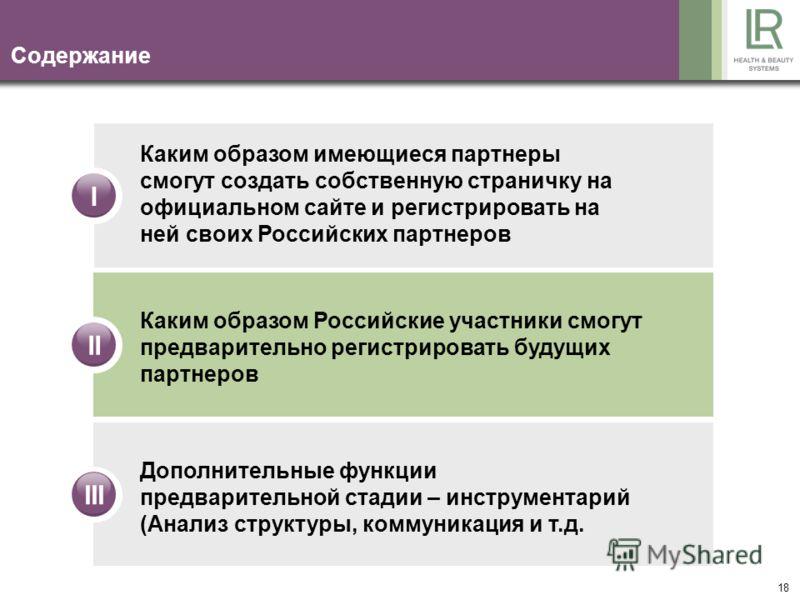 18 Содержание IIIIII Каким образом имеющиеся партнеры смогут создать собственную страничку на официальном сайте и регистрировать на ней своих Российских партнеров Каким образом Российские участники смогут предварительно регистрировать будущих партнер