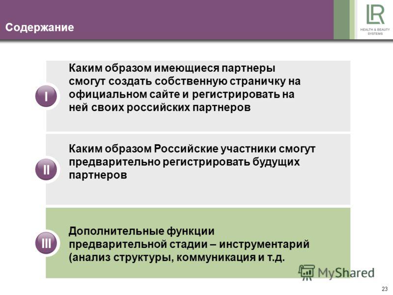 23 Содержание IIIIII Каким образом имеющиеся партнеры смогут создать собственную страничку на официальном сайте и регистрировать на ней своих российских партнеров Каким образом Российские участники смогут предварительно регистрировать будущих партнер