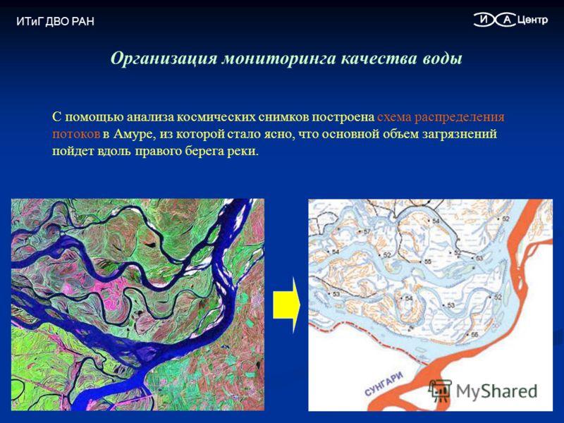 Организация мониторинга качества воды С помощью анализа космических снимков построена схема распределения потоков в Амуре, из которой стало ясно, что основной объем загрязнений пойдет вдоль правого берега реки. ИТиГ ДВО РАН