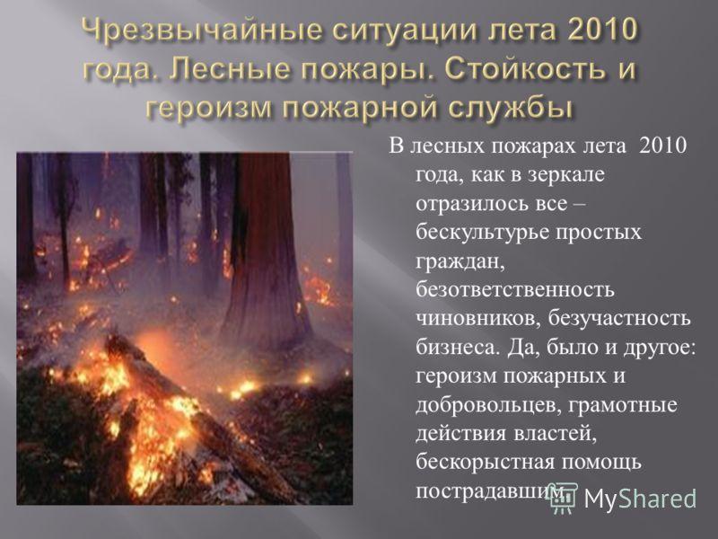 В лесных пожарах лета 2010 года, как в зеркале отразилось все – бескультурье простых граждан, безответственность чиновников, безучастность бизнеса. Да, было и другое : героизм пожарных и добровольцев, грамотные действия властей, бескорыстная помощь п