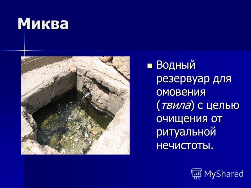 Миква Водный резервуар для омовения (твила) с целью очищения от ритуальной нечистоты. Водный резервуар для омовения (твила) с целью очищения от ритуальной нечистоты.