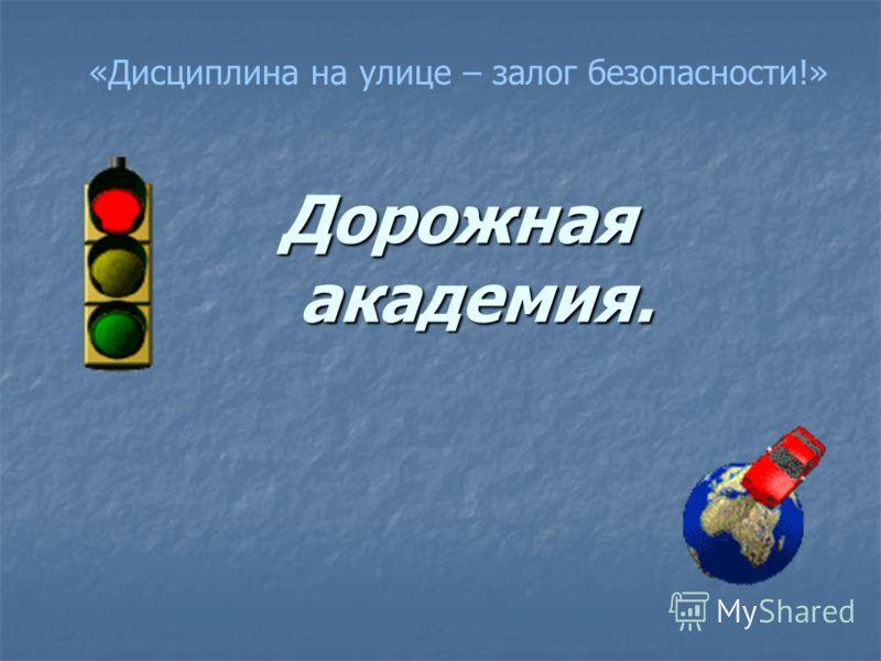 Дорожная академия. Дорожная академия. «Дисциплина на улице – залог безопасности!»