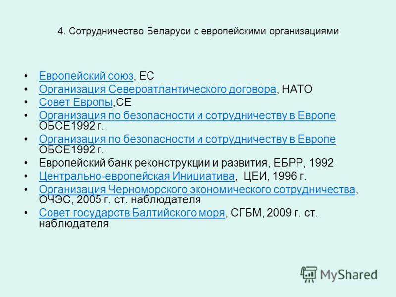 4. Сотрудничество Беларуси с европейскими организациями Европейский союз, ЕС Европейский союз Организация Североатлантического договора, НАТООрганизация Североатлантического договора Совет Европы,СЕСовет Европы Организация по безопасности и сотруднич