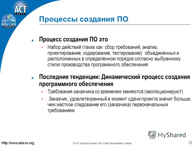 http://www.ada-ru.org © ACT Europe согласно GNU Free Documentation License 13 Процессы создания ПО Процесс создания ПО это Набор действий (таких как сбор требований, анализ, проектирование, кодирование, тестирование) объединённых и расположенных в оп