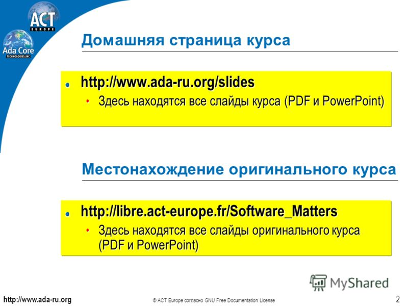http://www.ada-ru.org © ACT Europe согласно GNU Free Documentation License 2 Домашняя страница курса http://www.ada-ru.org/slides Здесь находятся все слайды курса (PDF и PowerPoint) Здесь находятся все слайды курса (PDF и PowerPoint) Местонахождение