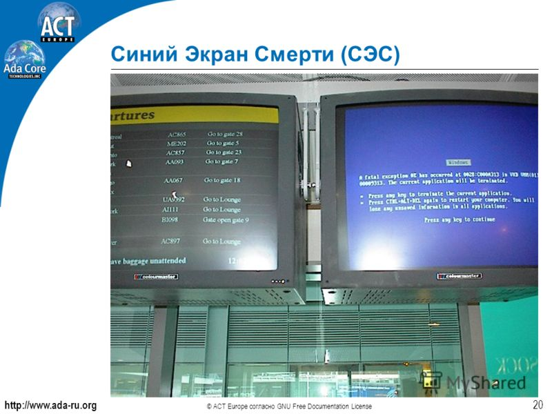 http://www.ada-ru.org © ACT Europe согласно GNU Free Documentation License 20 Синий Экран Смерти (СЭС)
