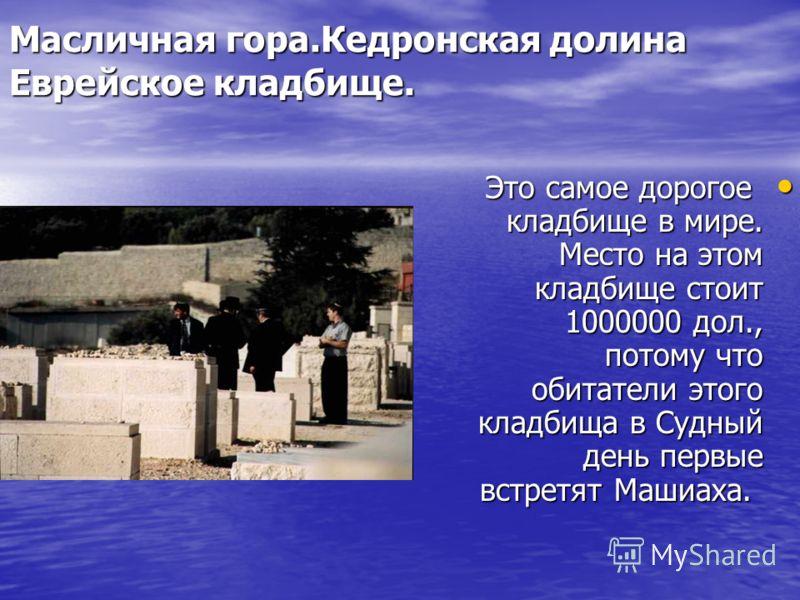 Масличная гора.Кедронская долина Еврейское кладбище. Это самое дорогое кладбище в мире. Место на этом кладбище стоит 1000000 дол., потому что обитатели этого кладбища в Судный день первые встретят Машиаха. Это самое дорогое кладбище в мире. Место на