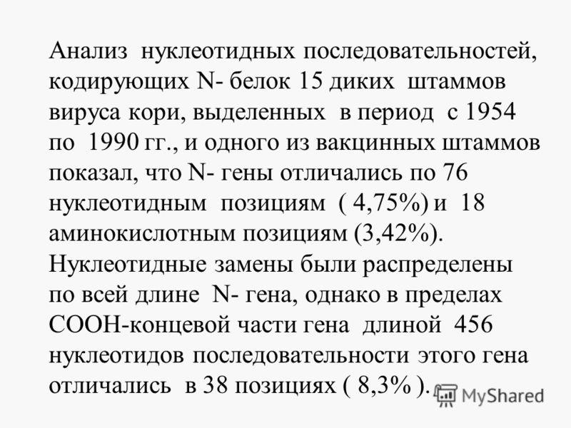 Анализ нуклеотидных последовательностей, кодирующих N- белок 15 диких штаммов вируса кори, выделенных в период с 1954 по 1990 гг., и одного из вакцинных штаммов показал, что N- гены отличались по 76 нуклеотидным позициям ( 4,75%) и 18 аминокислотным