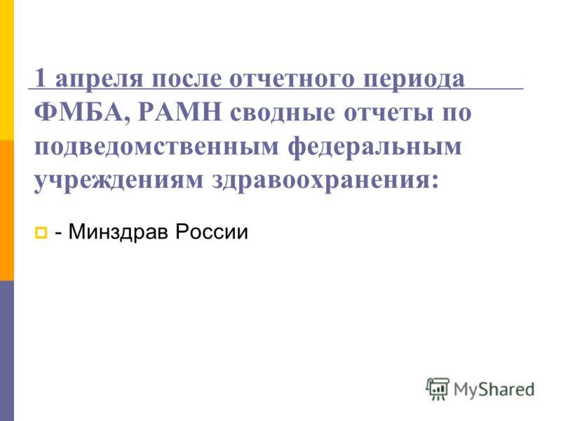 1 апреля после отчетного периода ФМБА, РАМН сводные отчеты по подведомственным федеральным учреждениям здравоохранения: - Минздрав России