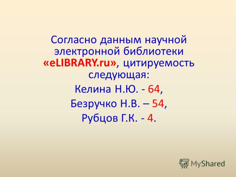 Согласно данным научной электронной библиотеки «eLIBRARY.ru», цитируемость следующая: Келина Н.Ю. - 64, Безручко Н.В. – 54, Рубцов Г.К. - 4.