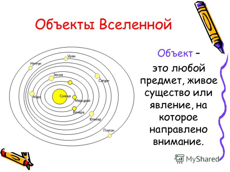 Объекты Вселенной Объект – это любой предмет, живое существо или явление, на которое направлено внимание.