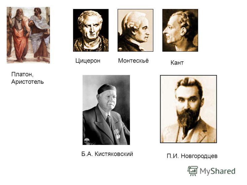 Платон, Аристотель ЦицеронМонтескьё Кант Б.А. Кистяковский П.И. Новгородцев