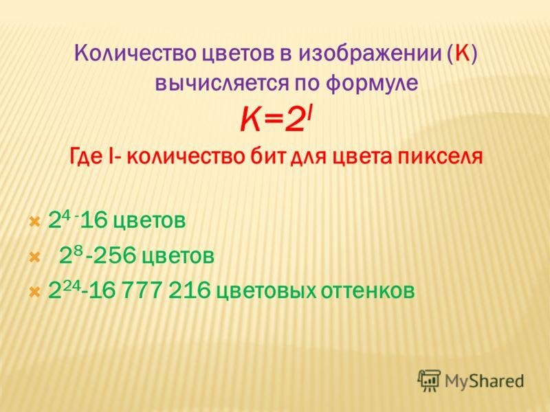 Количество цветов в изображении (К) вычисляется по формуле К=2 I Где I- количество бит для цвета пикселя 2 4 - 16 цветов 2 8 -256 цветов 2 24 -16 777 216 цветовых оттенков