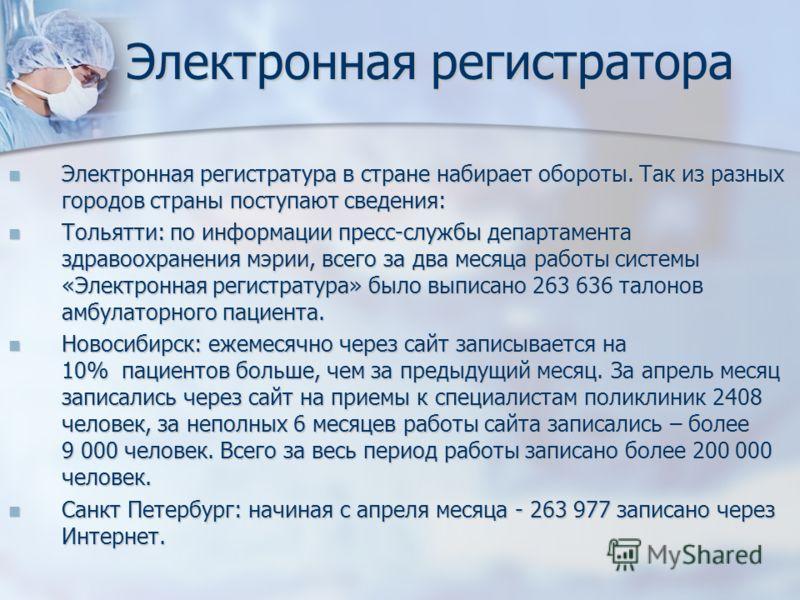 Электронная регистратора Электронная регистратура в стране набирает обороты. Так из разных городов страны поступают сведения: Электронная регистратура в стране набирает обороты. Так из разных городов страны поступают сведения: Тольятти: по информации