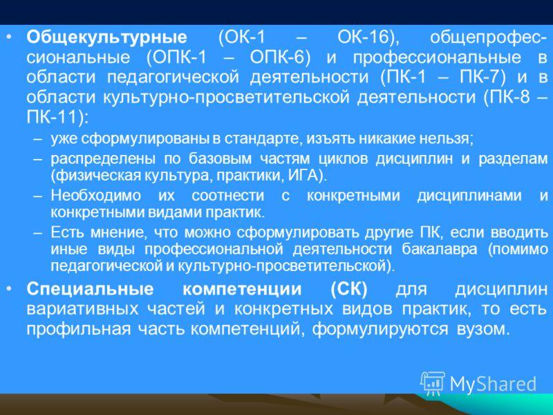 Общекультурные (ОК-1 – ОК-16), общепрофес- сиональные (ОПК-1 – ОПК-6) и профессиональные в области педагогической деятельности (ПК-1 – ПК-7) и в области культурно-просветительской деятельности (ПК-8 – ПК-11): –уже сформулированы в стандарте, изъять н
