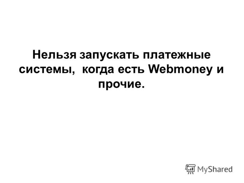 Нельзя запускать платежные системы, когда есть Webmoney и прочие.