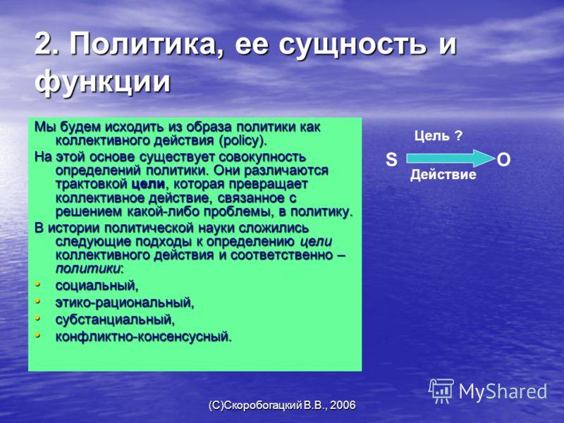 (C)Скоробогацкий В.В., 2006 2. Политика, ее сущность и функции Мы будем исходить из образа политики как коллективного действия (policy). На этой основе существует совокупность определений политики. Они различаются трактовкой цели, которая превращает
