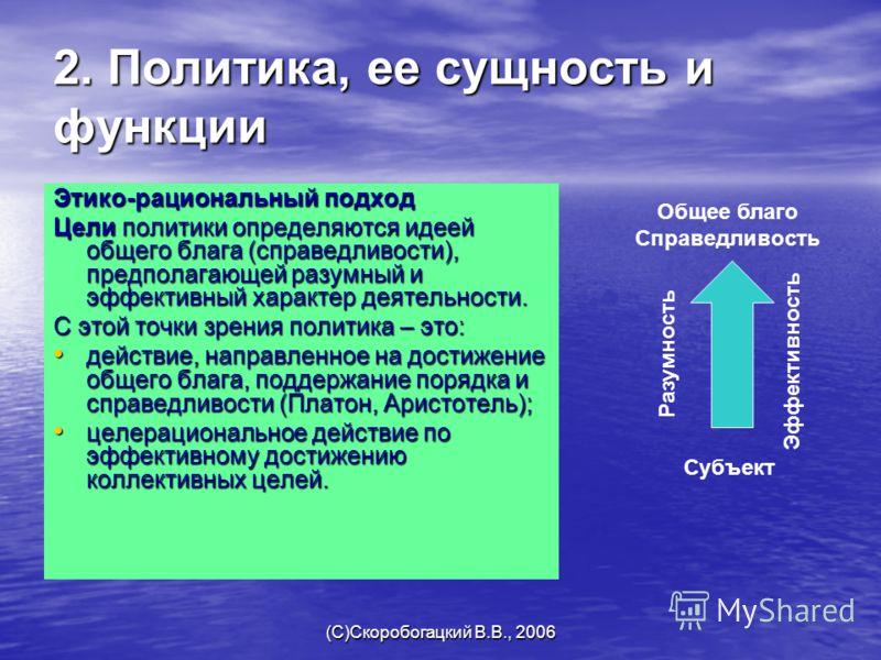 (C)Скоробогацкий В.В., 2006 2. Политика, ее сущность и функции Этико-рациональный подход Цели политики определяются идеей общего блага (справедливости), предполагающей разумный и эффективный характер деятельности. С этой точки зрения политика – это: