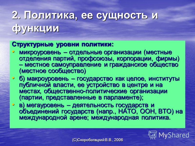 (C)Скоробогацкий В.В., 2006 2. Политика, ее сущность и функции Структурные уровни политики: микроуровень – отдельные организации (местные отделения партий, профсоюзы, корпорации, фирмы) – местное самоуправление и гражданское общество (местное сообщес