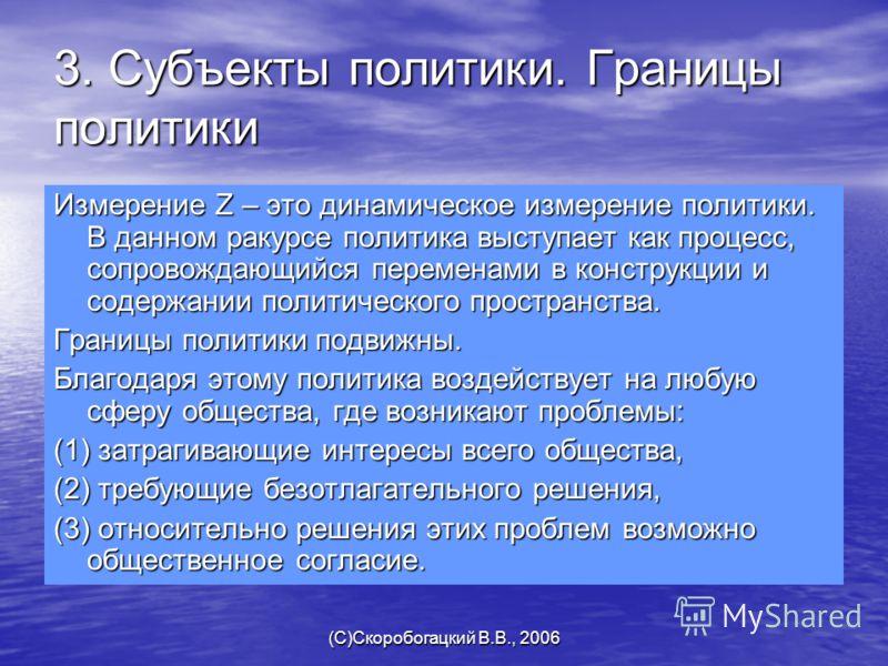 (C)Скоробогацкий В.В., 2006 3. Субъекты политики. Границы политики Измерение Z – это динамическое измерение политики. В данном ракурсе политика выступает как процесс, сопровождающийся переменами в конструкции и содержании политического пространства.