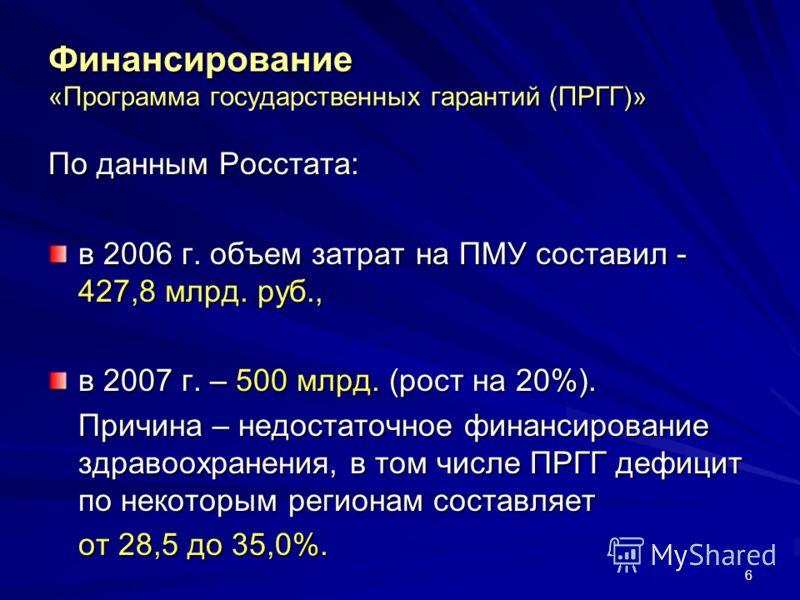 6 Финансирование «Программа государственных гарантий (ПРГГ)» По данным Росстата: в 2006 г. объем затрат на ПМУ составил - 427,8 млрд. руб., в 2007 г. – 500 млрд. (рост на 20%). Причина – недостаточное финансирование здравоохранения, в том числе ПРГГ