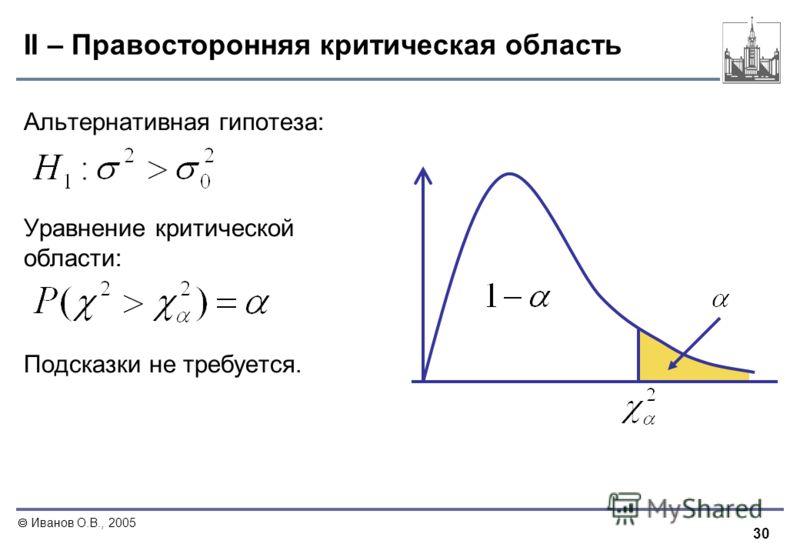 30 Иванов О.В., 2005 II – Правосторонняя критическая область Альтернативная гипотеза: Уравнение критической области: Подсказки не требуется.