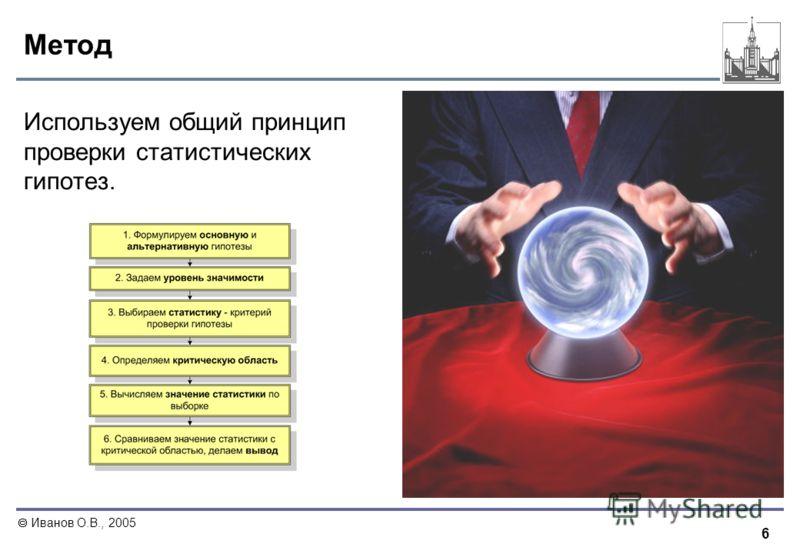 6 Иванов О.В., 2005 Метод Используем общий принцип проверки статистических гипотез.