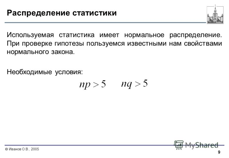 9 Иванов О.В., 2005 Распределение статистики Используемая статистика имеет нормальное распределение. При проверке гипотезы пользуемся известными нам свойствами нормального закона. Необходимые условия: