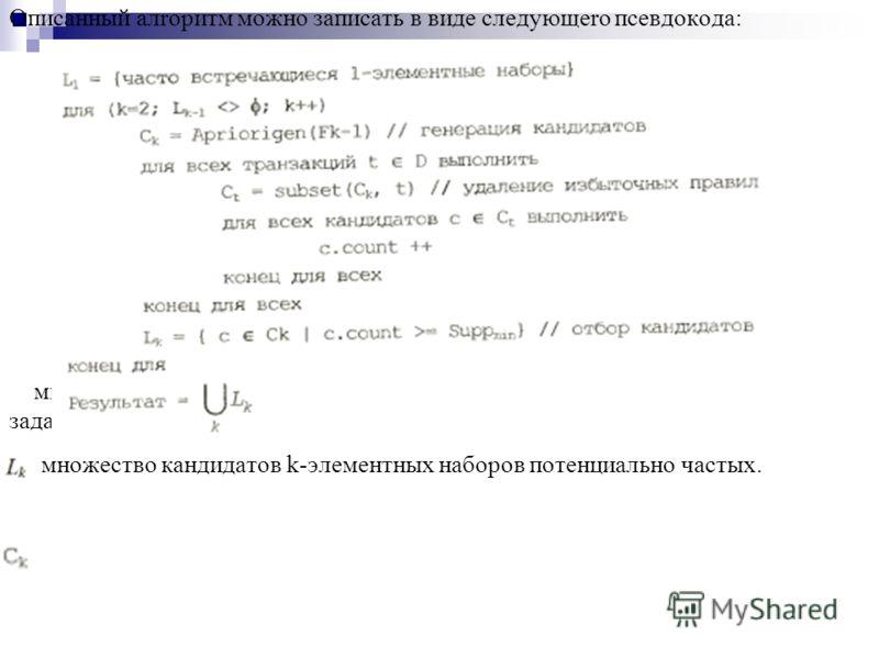 Описанный алrоритм можно записать в виде следующеrо псевдокода: множество k-элементных частых наборов, чья поддержка не меньше заданной пользователем. множество кандидатов k-элементных наборов потенциально частых.