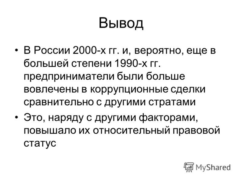 Вывод В России 2000-х гг. и, вероятно, еще в большей степени 1990-х гг. предприниматели были больше вовлечены в коррупционные сделки сравнительно с другими стратами Это, наряду с другими факторами, повышало их относительный правовой статус