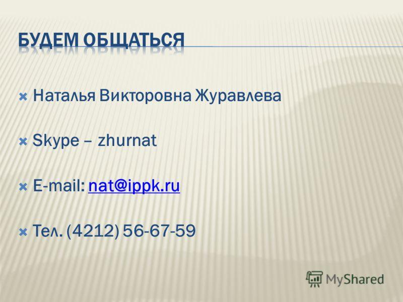 Наталья Викторовна Журавлева Skype – zhurnat E-mail: nat@ippk.runat@ippk.ru Тел. (4212) 56-67-59