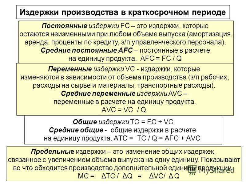 10 Переменные издержки VС - издержки, которые изменяются в зависимости от объема производства (з/п рабочих, расходы на сырье и материалы, транспортные расходы). Средние переменные издержки AVC – переменные в расчете на единицу продукта. АVС = VС / Q
