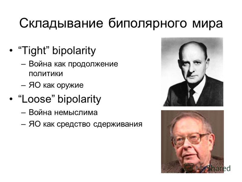 Складывание биполярного мира Tight bipolarity –Война как продолжение политики –ЯО как оружие Loose bipolarity –Война немыслима –ЯО как средство сдерживания