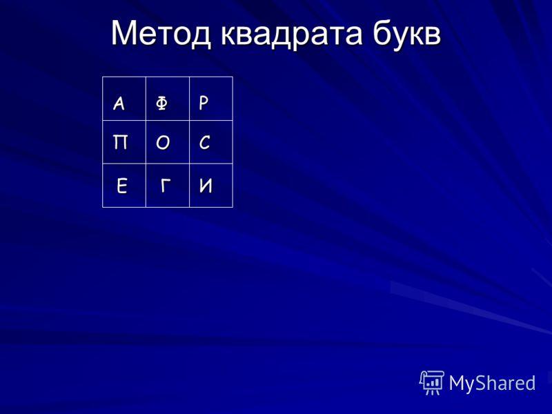 Метод квадрата букв АФР ПСО ЕГИ