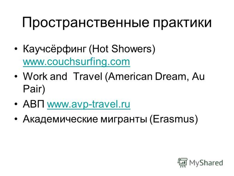 Пространственные практики Каучсёрфинг (Hot Showers) www.couchsurfing.com www.couchsurfing.com Work and Travel (American Dream, Au Pair) АВП www.avp-travel.ruwww.avp-travel.ru Академические мигранты (Erasmus)