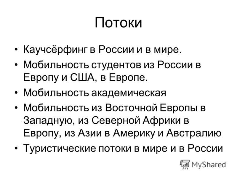 Потоки Каучсёрфинг в России и в мире. Мобильность студентов из России в Европу и США, в Европе. Мобильность академическая Мобильность из Восточной Европы в Западную, из Северной Африки в Европу, из Азии в Америку и Австралию Туристические потоки в ми