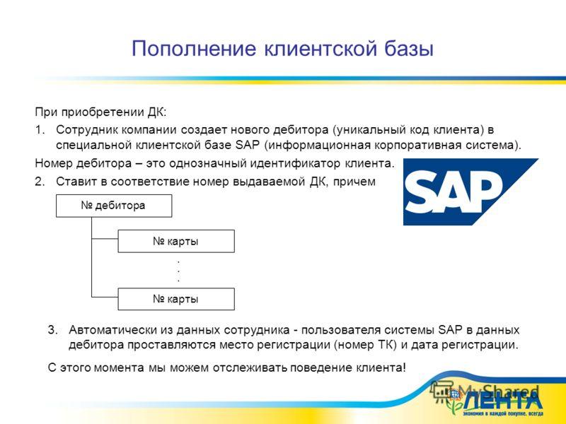 Пополнение клиентской базы При приобретении ДК: 1.Сотрудник компании создает нового дебитора (уникальный код клиента) в специальной клиентской базе SAP (информационная корпоративная система). Номер дебитора – это однозначный идентификатор клиента. 2.