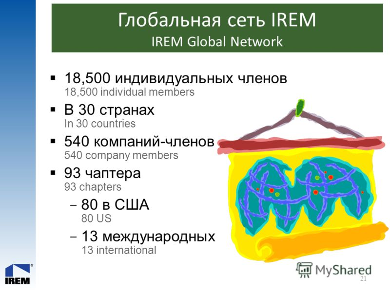 Глобальная сеть IREM IREM Global Network 18,500 индивидуальных членов 18,500 individual members В 30 странах In 30 countries 540 компаний-членов 540 company members 93 чаптера 93 chapters  80 в США 80 US  13 международных 13 international 21