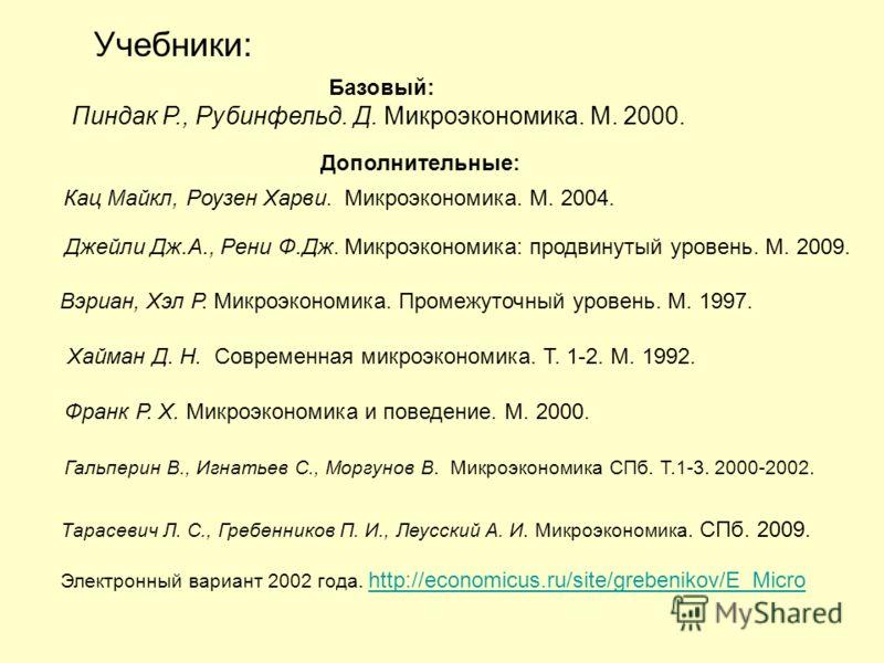 Учебники: Базовый: Пиндак Р., Рубинфельд. Д. Микроэкономика. М. 2000. Вэриан, Хэл Р. Микроэкономика. Промежуточный уровень. М. 1997. Хайман Д. Н. Современная микроэкономика. Т. 1-2. М. 1992. Франк Р. Х. Микроэкономика и поведение. М. 2000. Гальперин