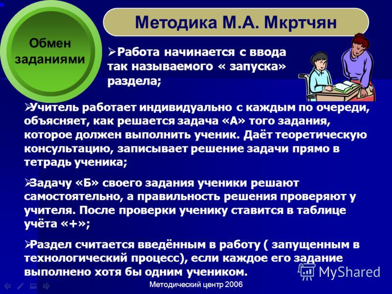 Методический центр 2006 Обмен заданиями Методика М.А. Мкртчян Работа начинается с ввода так называемого « запуска» раздела; Учитель работает индивидуально с каждым по очереди, объясняет, как решается задача «А» того задания, которое должен выполнить