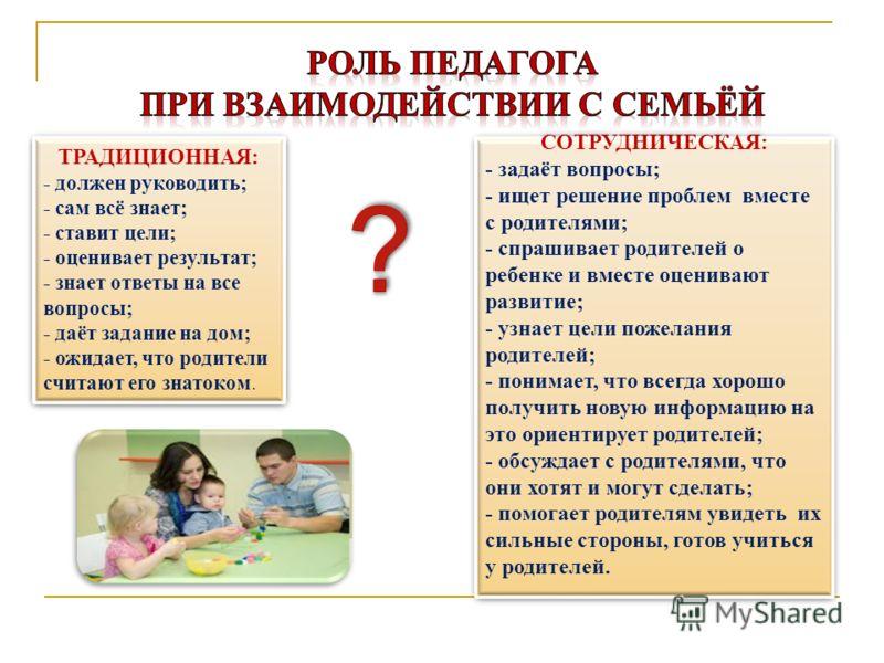 СОТРУДНИЧЕСКАЯ: - задаёт вопросы; - ищет решение проблем вместе с родителями; - спрашивает родителей о ребенке и вместе оценивают развитие; - узнает цели пожелания родителей; - понимает, что всегда хорошо получить новую информацию на это ориентирует