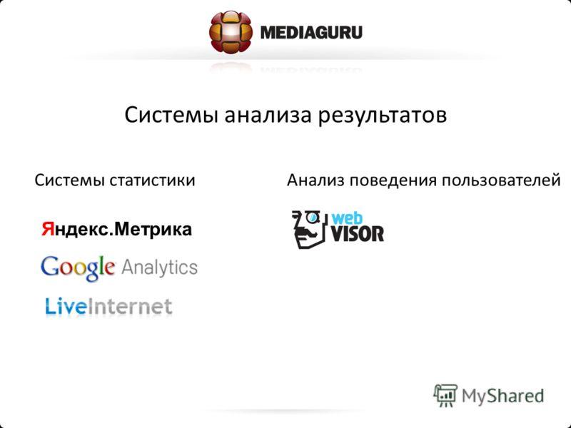 Системы статистикиАнализ поведения пользователей Системы анализа результатов Яндекс.Метрика