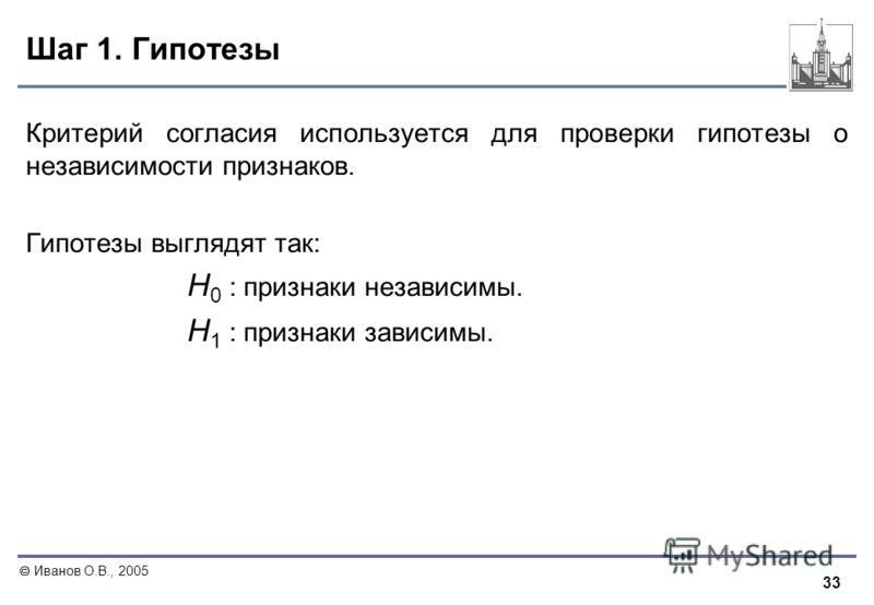 33 Иванов О.В., 2005 Шаг 1. Гипотезы Критерий согласия используется для проверки гипотезы о независимости признаков. Гипотезы выглядят так: Н 0 : признаки независимы. Н 1 : признаки зависимы.