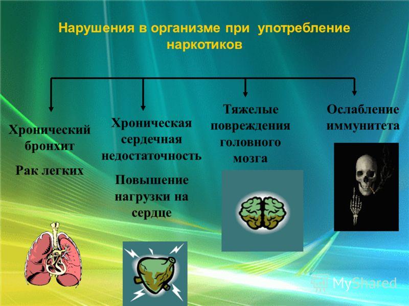 Хронический бронхит Рак легких Хроническая сердечная недостаточность Повышение нагрузки на сердце Тяжелые повреждения головного мозга Ослабление иммунитета Нарушения в организме при употребление наркотиков