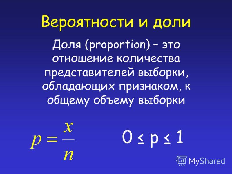 Вероятности и доли Доля (proportion) – это отношение количества представителей выборки, обладающих признаком, к общему объему выборки 0 p 1