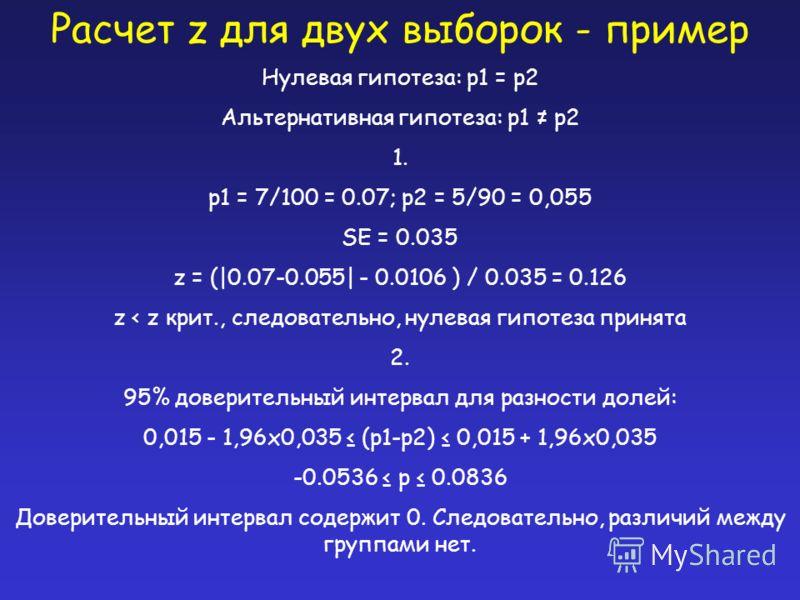 Расчет z для двух выборок - пример Нулевая гипотеза: p1 = p2 Альтернативная гипотеза: p1 p2 1. p1 = 7/100 = 0.07; p2 = 5/90 = 0,055 SE = 0.035 z = (|0.07-0.055| - 0.0106 ) / 0.035 = 0.126 z < z крит., следовательно, нулевая гипотеза принята 2. 95% до