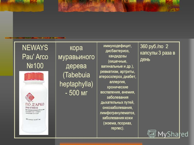 NEWAYS Pau' Arco 100 кора муравьиного дерева (Tabebuia heptaphylla) - 500 мг иммунодефицит, дисбактериоз, кандидозы (кишечные, вагинальные и др.), ревматизм, артриты, атеросклероз, диабет, аллергия, хронические воспаления, анемия, заболевания дыхател