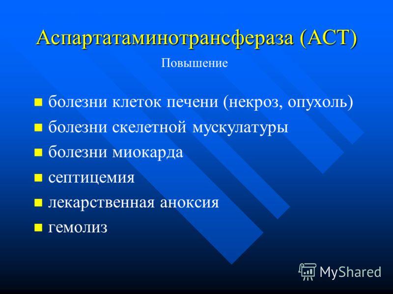 Аспартатаминотрансфераза (АСТ) болезни клеток печени (некроз, опухоль) болезни скелетной мускулатуры болезни миокарда септицемия лекарственная аноксия гемолиз Повышение