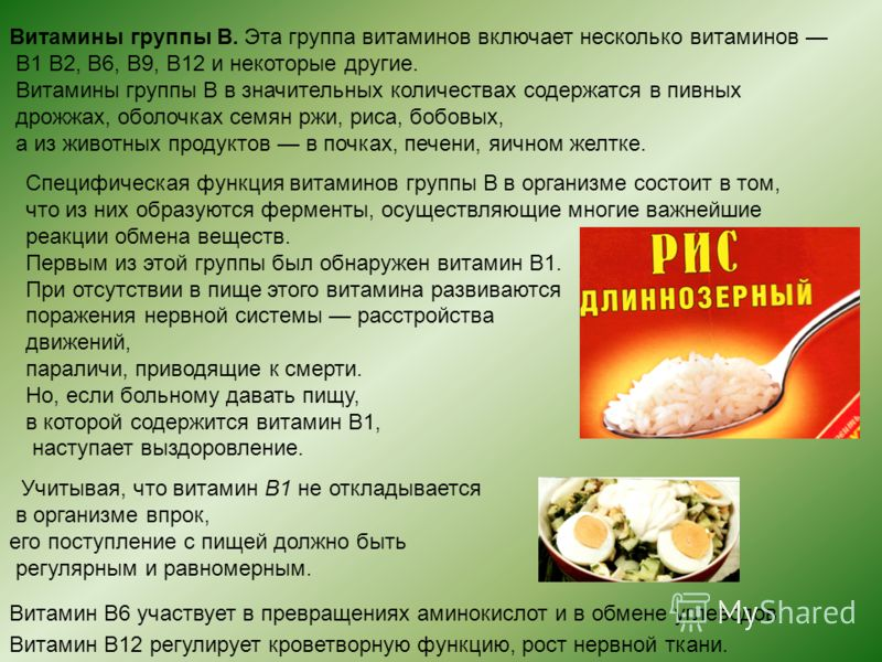Витамины группы В. Эта группа витаминов включает несколько витаминов В1 В2, В6, В9, В12 и некоторые другие. Витамины группы В в значительных количествах содержатся в пивных дрожжах, оболочках семян ржи, риса, бобовых, а из животных продуктов в почках