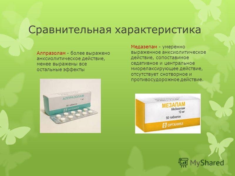 Сравнительная характеристика Алпразолам - более выражено анксиолитическое действие, менее выражены все остальные эффекты Медазепам - умеренно выраженное анксиолитическое действие, сопоставимое седативное и центральное миорелаксирующее действие, отсут